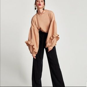 Zara Peach Ruffled Puffy Sleeved Blouse Large